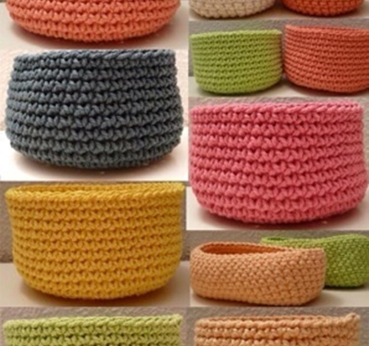 Taller de ganchillo cesto de cuerda o trapillo uolala - Hacer una manta de ganchillo ...